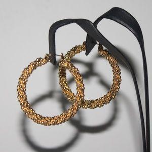 Stunning Gold Vintage hoop earrings pierced